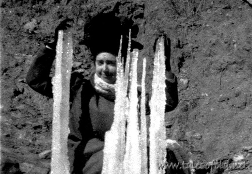 Dollie Daniel with Icicles in Dickens County, Texas