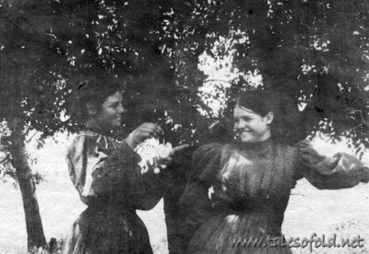 Two Schoolgirls, Ada Rogers and (Unknown) Scarborough in Dickens County, Texas