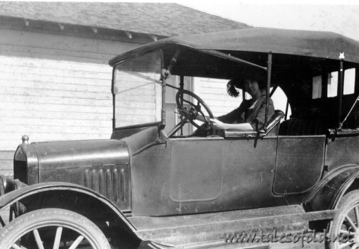 Unknown Woman in an Old Model Car
